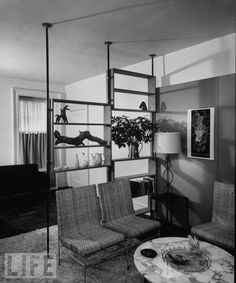 Pole room dividers.  1953