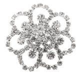 Ladies Silver with Clear Iced Out Symmetrical Flower Style Brooch & Pin Pendant - Brooch, Clear, Flower, Iced, Ladies, Pendant, Silver, Style, Symmetrical