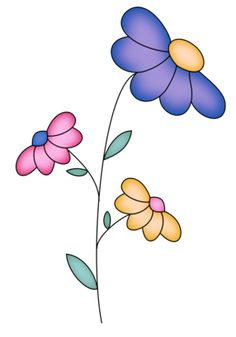 Doodle Drawings, Doodle Art, Easy Drawings, Watercolor Cards, Watercolor Flowers, Image Digital, Flower Doodles, Whimsical Art, Paint Designs