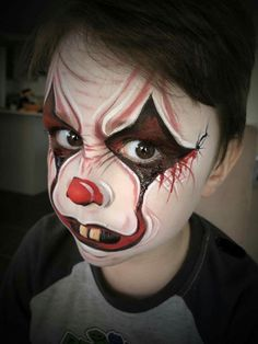 Halloween Makeup For Kids, Homemade Halloween, Halloween Design, Face Painting For Boys, Face Painting Designs, Clown Face Paint, Clown Faces, Evil Clowns, Clown Makeup