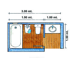 <span>Dos compartimentos con medidas mínimas. Este baño permite el uso simultáneo de dos personas sin perder privacidad.</span></p>