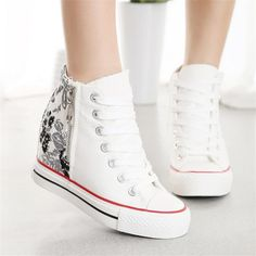 3ba6fc371446e4 alieexpress.com Sweet white converse type high-tops with patterned heel.  Wedge Sneakers