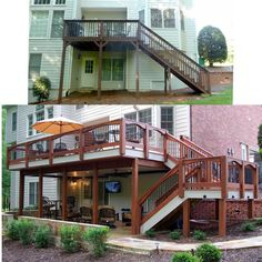 Double your usable outdoor living space with a patio and a dry underdeck system. Double your usable outdoor living space with a patio and a dry underdeck system. Patio Under Decks, Decks And Porches, Patio Deck Designs, Patio Design, Pool Designs, Deck Makeover, Exterior Makeover, Backyard Makeover, Deck Stairs