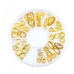 12 Different Golden Designs 3D Nail Art DIY Decoration Wheel