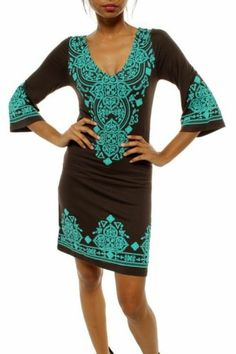 Bistro in Barcelona Moroccan Brown Turquoise Dress Tunic Chelsea Verde s M L XL Stylish Maternity, Maternity Wear, Maternity Dresses, Maternity Fashion, Maternity Clothing, Maxi Dresses, Chic Dress, Boho Dress, Chelsea
