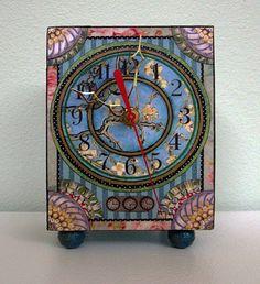 Van Gogh's Almond Blossoms Clock (handcrafted & hand embellished, mixed media). Barbara Edidin.