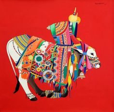 Indian Traditional Paintings, Indian Contemporary Art, Indian Art Paintings, Bull Painting, Abstract Tree Painting, Indian Illustration, Elephant Illustration, Indian Art Gallery, Peacock Wall Art