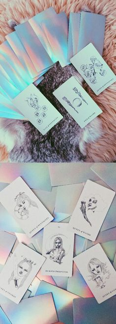 The Luminous Spirit Tarot Deck - Holographic back with minimalist drawings. A perfect gift for all the mermaids and unicorns in your life! Holographic Tarot Deck, Oracle Deck, Tarot Cards, Independently Published Tarot Deck, Witchcraft, Wicca, Mysticism, Illustration, Pagan, Bohemian, Hippie, Rainbow, Iridescent. #tarotcards
