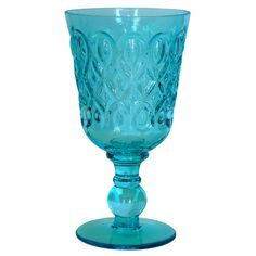 R Squared Teardrop Pressed Glass Goblet