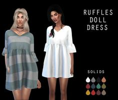 Leo 4 Sims: Ruffle Doll Dress recolor • Sims 4 Downloads