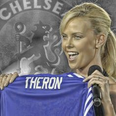 CHARLIZE THERON, a CHELSEA FC Fan Chelsea Blue, Chelsea Girls, Fc Chelsea, Chelsea Football, Stamford Bridge, Graphic Artwork, Fulham, West London, Editing Pictures