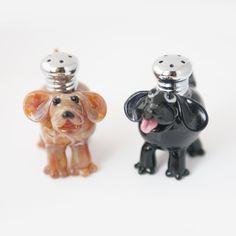 Dogs Salt & Pepper Shaker Set by Lucky Duck Glass – Harvest Gold Gallery