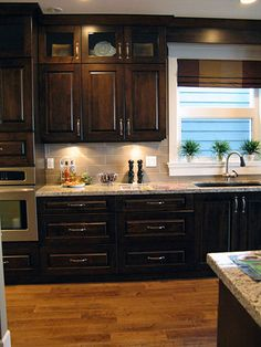 New Kitchen Colors Brown Cabinets Hardware Ideas Backsplash With Dark Cabinets, Dark Kitchen Cabinets, Kitchen Redo, Kitchen Backsplash, New Kitchen, Kitchen Remodel, Kitchen Ideas, Kitchen Colors, Backsplash Ideas