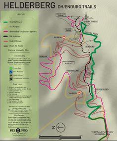Helderberg MTB trails DHiRide Africa Mtb Trails, Trail Maps, Africa, Tech, Tecnologia, Technology