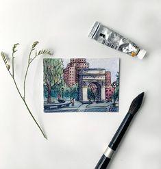 Mini Art Print: Washington Square Park NYC | Etsy Washington Square Park Nyc, Watercolor Texture, Colored Pencils, Paper Texture, Ink, Art Prints, Studio, Etsy, Dishcloth