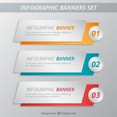 banners infográfico pacote de modelo Vetor grátis