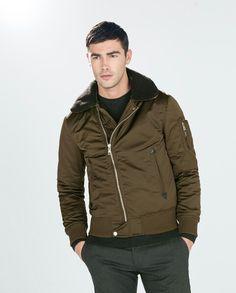 2dfcb3c3fe0 Zara men jacket with furry collar Cazadoras Hombre Zara