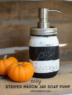 A simply adorable striped mason jar soap pump that could not be any easier! Perfect for next to your kitchen sink or on your bathroom counter!