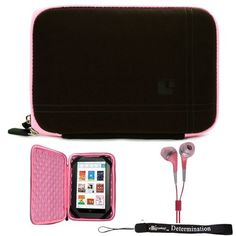 Amazon.com: Pink Brown Limited Edition Stylish Sleeve Premium Cover Case with Aerotechnology Protection and with front pocket for accessories For Barnes & Noble NOOK COLOR eBook Reader Tablet + Includes a eBigValue Determination Hand Strap + Includes a Crystal Clear High Quality HD Noise Filter Ear buds Earphones Headphones ( 3.5mm Jack ): Electronics