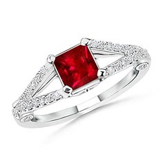 AAAA Quality Square Ruby and Round Diamond Split Shank Ring in Platinum Angara.com http://www.amazon.com/dp/B00GJEZVXW/ref=cm_sw_r_pi_dp_mrJWub1Z3DND1