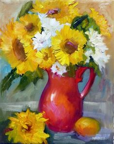 """Daily Paintworks - """"Arizona Sunflowers 14018"""" by Nancy Standlee"""