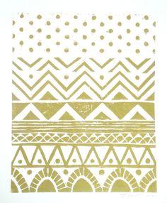 FREE SHIPPING Geometric Tribal Pattern Linocut Art Print / 8 x 10 Home Decor / Silver, Gold via Etsy