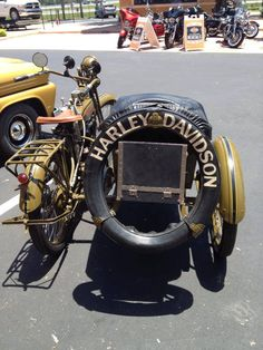 Vintage Harley Davidson Motorcycle With Side Car just feel the wind in your face...