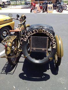 Vintage Harley Davidson Motorcycle With Side Car...