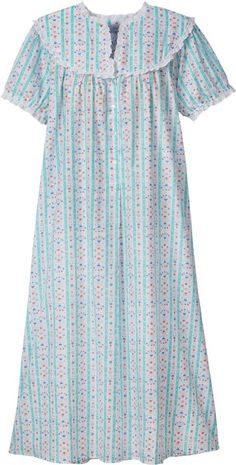 Lanz of Salzburg Tyrolean Print Nightgown in Cotton Lawn Dress Neck Designs, Blouse Designs, Night Gown Dress, Cotton Nighties, Nightgown Pattern, Frock Fashion, Night Suit, Night Dress For Women, Nightgowns For Women