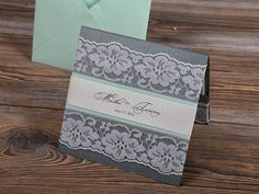 mint and gray wedding invitations   Mint and Grey Lace Wedding Invitation, Pocket Fold Wedding Invitations ...