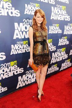 Bold fringe and lace feels fresh for evening on Emma's Bottega Veneta at the MTV Movie Awards in 2011.
