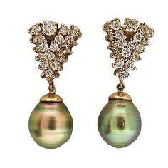 Estate 14k White Gold 1.60ct Diamond Black South Sea Baroque Pearl Earrings - petersuchyjewelers