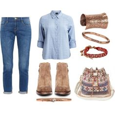 Get the Western Feel by monikazajac on Polyvore featuring VILA, Frame Denim, H by Hudson, Vintage, Chan Luu, Dorothy Perkins and Emporio Armani