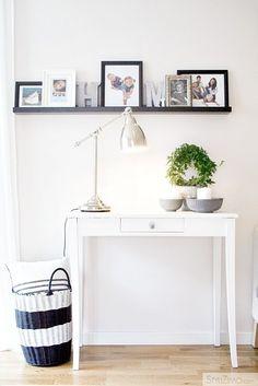 nice shelf for frames and decoration