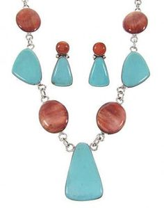 Turquoise Jewelry | Southwest Link Necklace Set | Turquoise Oyster Shell Jewelry