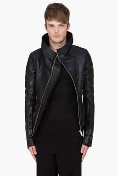 RICK OWENS Black Leather Stag Bomber Jacket