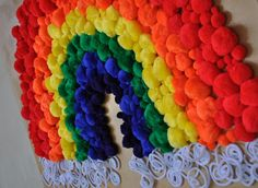 I made this fun and whimsical piece of 'art' for my little punks recent Rainbows & Unicorns birthday party. It involves the two most important items in a little girls life: Pom poms and rainbows! What could be more perfect? We hung it above the dessert table that was covered in rainbow colored food….it was …