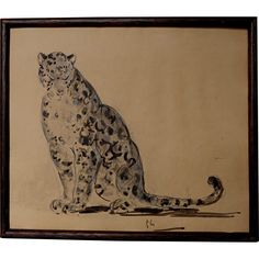 1920s Pencil & Watercolour of a Leopard Big Cat Panther on Paper from greens on Ruby Lane