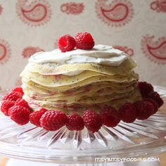 layered with almond whipped cream and raspberry jam make a sweet cake ...