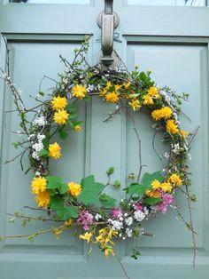 home-made spring door wreath