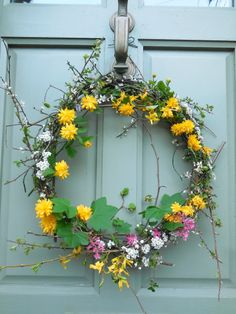 home-made spring door wreath