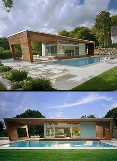 Cool Pool House by Hariri and Hariri - pool house could easily be the abode of choice...