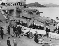 Historical moment. Prime Minister Winston Churchill encounters a ship's cat.