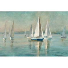 Posterazzi Sailboats at Sunrise Canvas Art - Danhui Nai (24 x 36)