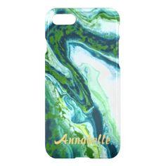 Elegant GREEN BLUE WHITE  MARBLE PERSONALIZED iPhone 7 Case - diy individual customized design unique ideas