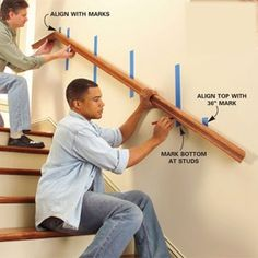 Installing a wall-mount stair rail.