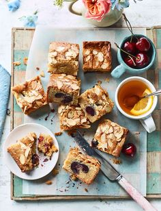 A heavenly cross between an almondy Bakewell tart and butterscotch-like blondies, our cherry Bakewell blondies recipe is a delicious teatime treat, or serve warm as a pudding with a scoop of ice cream. Unbeatable with ripe summer cherries but just as tasty with tinned cherries when fresh aren't available.