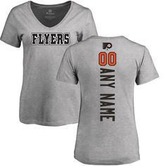 Philadelphia Flyers Fanatics Branded Women's Personalized Backer T-Shirt - Ash