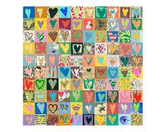 100 HEARTS, mixed media assemblage, original collage on wood, love art, ORIGINAL art by Elizabeth Rosen