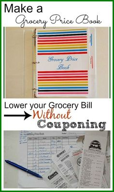 """Hate couponing? Lower your grocery bill without couponing - it's """"old school"""" but it really works. Learn how to make a grocery store price book - Resources (links) for printable grocery store price sheets included in post."""